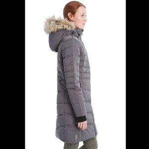 Lole Katie Jacket Grey Puffer Down Blend Faux Fur